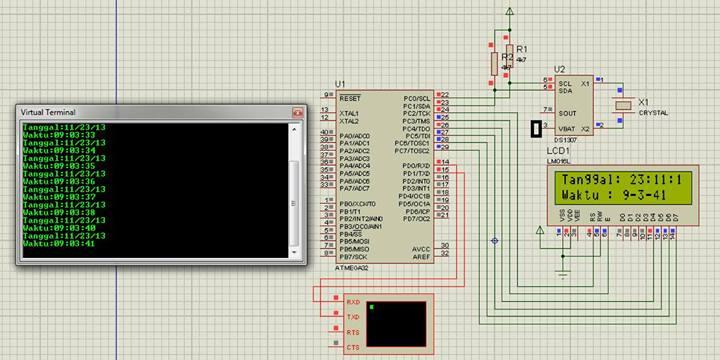 Jam Digital Dengan ATmega32 + LCD 16×2 + RTC (Real Time Clock) IC ...